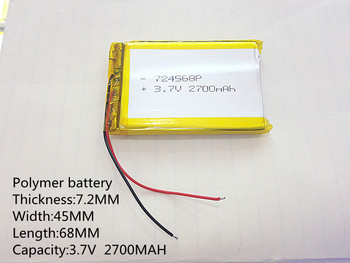 3.7 V,2700mAH,724568 PLIB ( polimēru litija jonu akumulators ) Litija jonu akumulators tablet pc,GPS,mp3,mp4,mobilo telefonu,skaļrunis